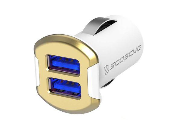 Scosche Revolt dual Dual USB Car Charger with Glow Ports (12 Watts x 2 Ports)