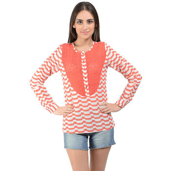 White Orange Stripe Top 2C15J23, l