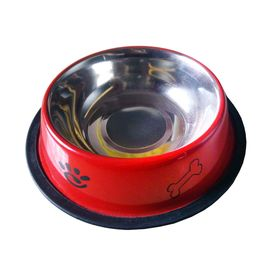 Canine Designer Printed Stainless Steel Bowl for Dogs & Cats, red, medium