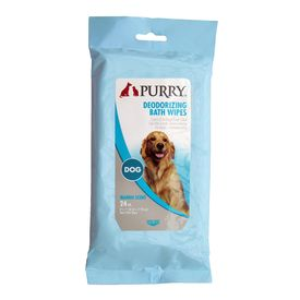 Purry Deodorising Bath Wipes for Dogs, 8 x 7 inch