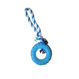 Super Dog Knotted Rope with Coloured Tyre Dog Toy, blue