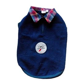 Rays Premium Double Fleece Warm Collar Tshirt for Small Dogs, navy blue smiley, 16 inch
