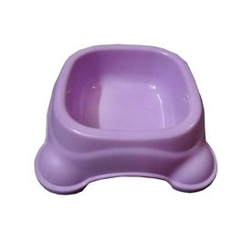 Imported Square Anti Skid Plastic Bowl for Cats and Small Dogs, small, purple