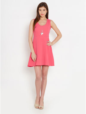 Cut-Out Back Coral Dress, s, coral