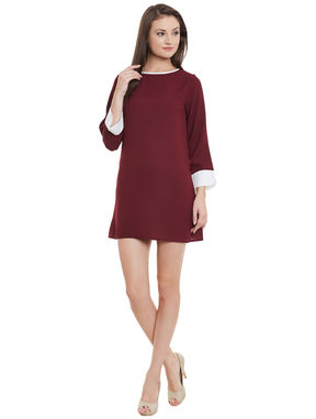 Maroon Tunic with Contrast Cuffs, maroon, xl
