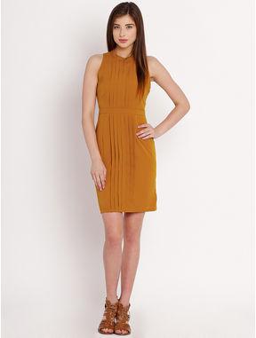 Mustard Shirt Dress with Pintucks, m, mustard