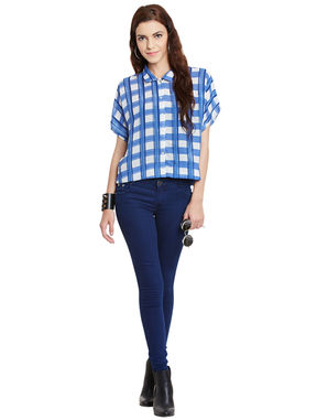 Gingham Print Cropped Shirt, white, l