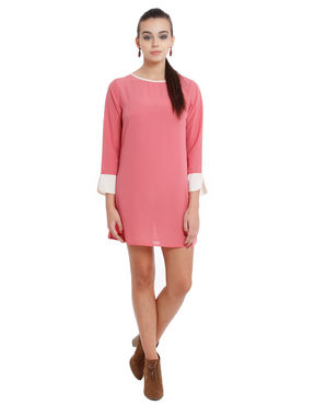 Shift dress in contrast cuff and neck, l, georgette, pink