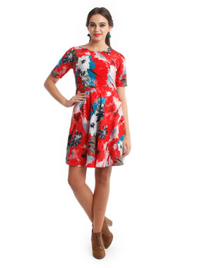 Red floral skater dress, m, rayon, red