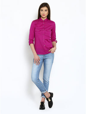 Pink Cotton Shirt with Printed Buttons, l, pink