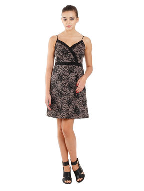 Empire Line Dress with Elasticated Back, xl, crepe, black