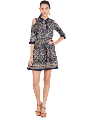 Indigo Fit and Flare Dress with Elasticated Waist, l, navy blue