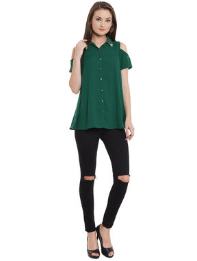 Green Cold Shoulder Embellished Shirt, green, s