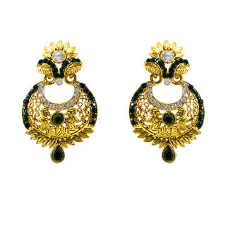 Golden Ethnic Danglers Studded With Green And White Stones