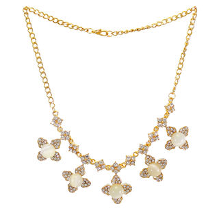 CZ-Stones Fashion Necklace With Dangling Golden Flowers