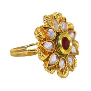 Flower Shape Kundan Studded Adjustable Ring, adjustable