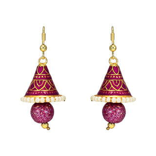 Pink Triangle Jhumki In Meenakari With Pearl