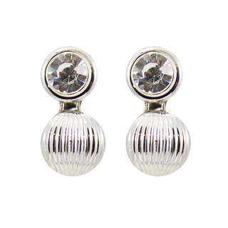 Trendy Silver Stone Stud Earrings For Women