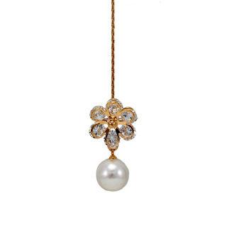 White Stone And Dangling Pearl Adorned Maang Tikka