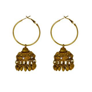 Graceful Ethnic Golden Jhumki Pair For Women
