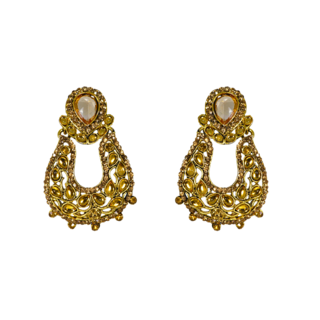 Golden Kundan Alloy Dangler Earrings For Women