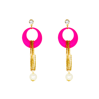 Pink And Golden Designer Fashion Earring For Women