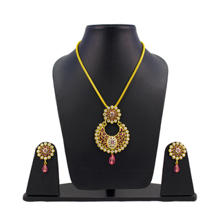 Gold Tone Light Pink Pendant Set With Chain For Women