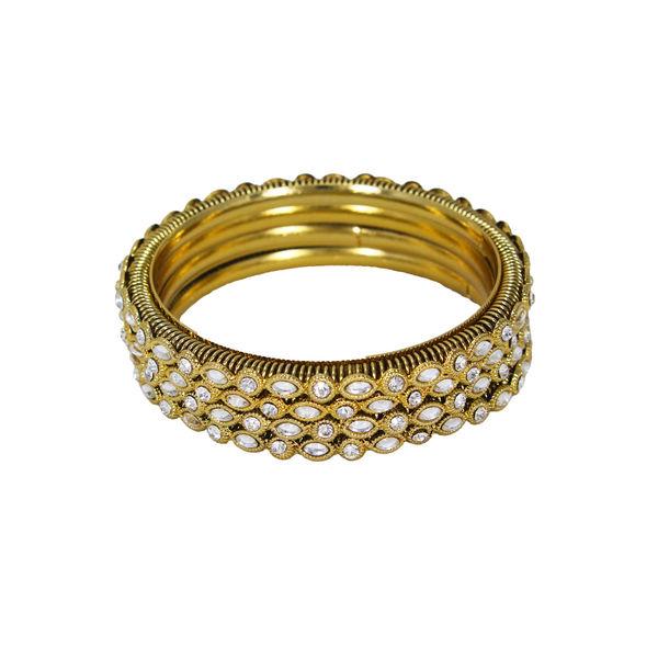Gold Tone 4PCS Bangle Set Adorned With Kundan, 2-6