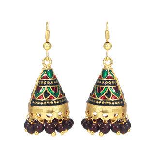 Gold Tone Multi-Color Ethnic Jhumki