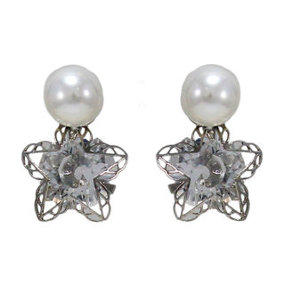 Silver Star Studs Adorned With Stone And Pearl