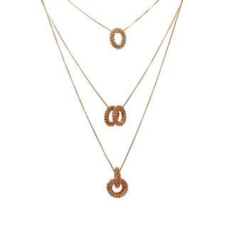 Classy Golden Three Chain Pendant For Women
