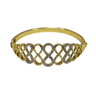 White Stones Adorned Bracelet In Golden Finish For Women, free size