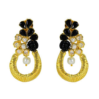 Antique-Style Gold Tone Earring Studded With Black Stones