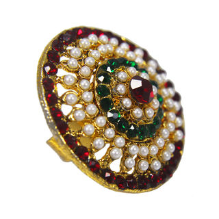 Round Shape Multi Color Stones Filled Ethnic Ring, adjustable