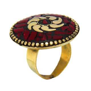 Round Shape Gold Tone Red Stones Ring For Girls, adjustable