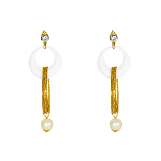 White And Golden Designer Fashion Earring For Women