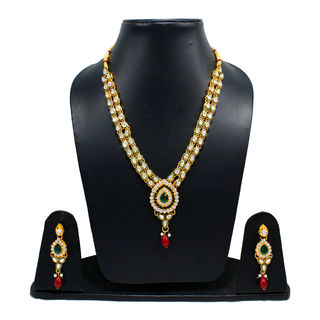 Golden Necklace Set With Kundan And Green Stones