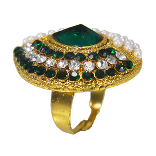 Golden Finish Green Stones And Pearl Embellished Ring, adjustable