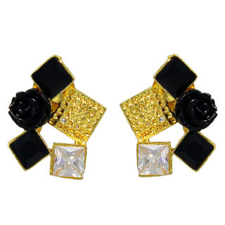 Designer Black Rose Fashion Studs On Gold Tone