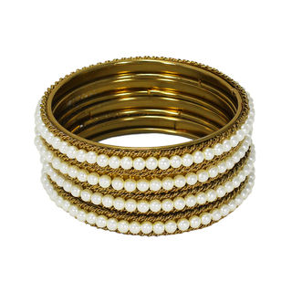 Beautiful Pearl Adorned Gold Tone Bangles For Women, 2-6