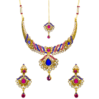 Women Pink Green Kundan Necklace Set With Maang Tika