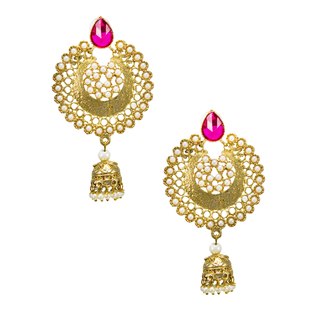 Royal Look Ethnic Dangler Earring In Pink Stone And Pearl