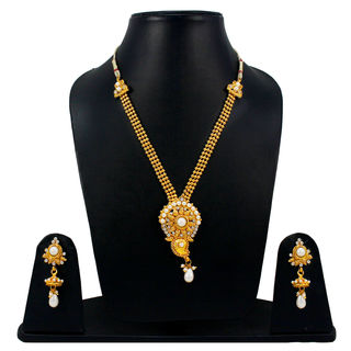 Pearl And White Stone Adorned Golden Necklace Set
