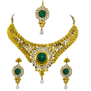 Golden Necklace Set Studded With Green Stone and Kundan