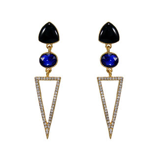 Blue And Silver Fashion Earrings With Dangling Triangle