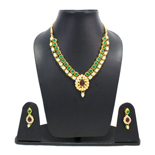 Necklace Set In Red Gemstone With Kundan For Women