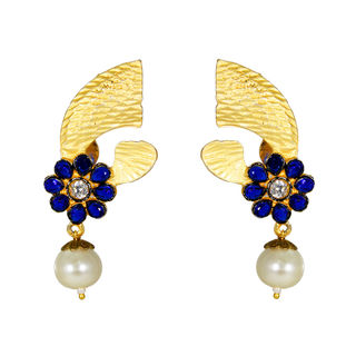 Elegant Gold Tone Earrings With Blue Stones