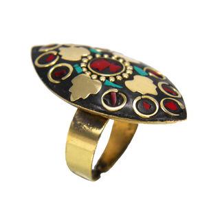 Girl's Fashion Ring With Golden Leaf Design On Black Stone, adjustable