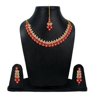 Red Stones Adorned Floral Sleek Necklace For Women