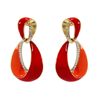 Red And Orange Dangler And Drop Earring